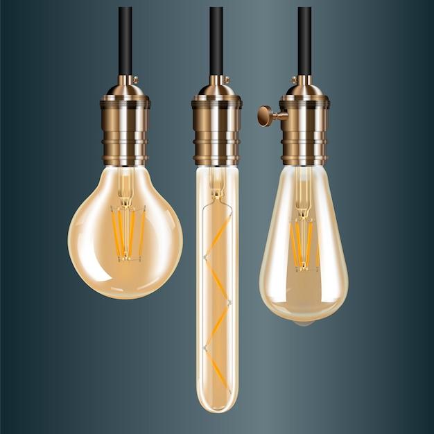 Старинный светильник. лампа эдисона в старинном держателе
