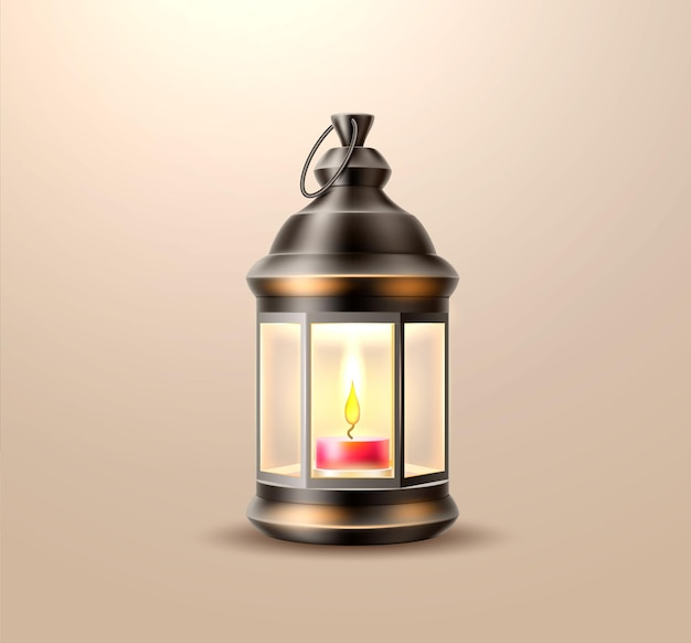 Vintage lantern with candle illustration