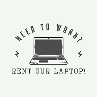 ヴィンテージノートパソコン。ロゴ、バッジ、エンブレムなどに使用できます。ベクトルイラスト