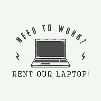 Vintage laptop. can be used for logo, badge, emblem and much more. vector illustration