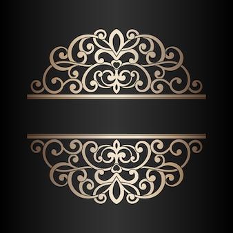 Урожай лазерной резки золота текстовой рамки. элемент дизайна.
