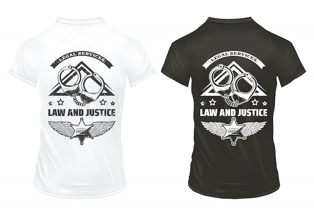 Vintage law and justice prints template with inscription handcuffs and police badge on shirts isolated