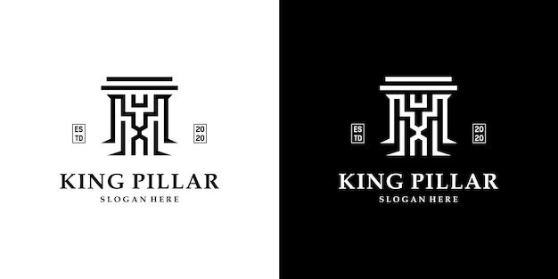 창의적인 결합 왕과 기둥 로고 템플릿이 있는 빈티지 변호사 로고