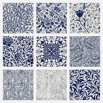 Vintage leaf seamless pattern background set