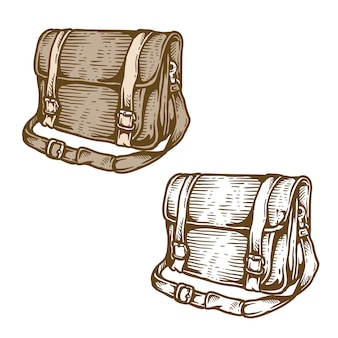 手描きのビンテージレザーバッグ