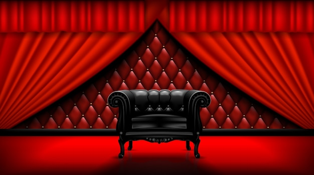 Vintage leather chair on a background of red curtains.  mock up is ready to be converted to your business needs.  realistic image