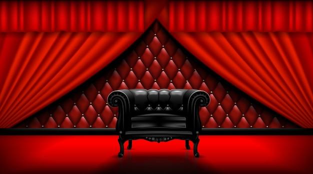 Винтажное кожаное кресло на фоне красных занавесок. макет готов к конвертации в ваши бизнес-потребности. реалистичное изображение