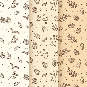 Vintage leaves hand drawn spring pattern