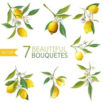 Vintage lemons, flowers and leaves