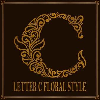 빈티지 편지 c 꽃 패턴 스타일