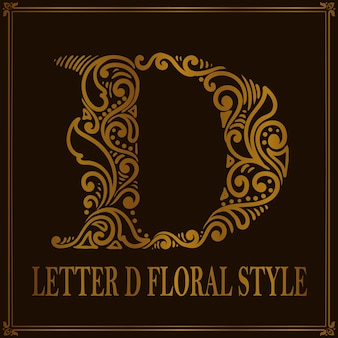 빈티지 편지 d 꽃 패턴 스타일