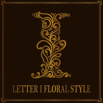 빈티지 편지 i 꽃 패턴 스타일