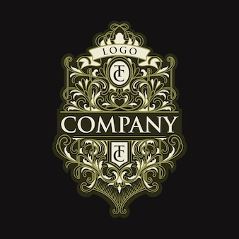 Винтажная буква tc с логотипом