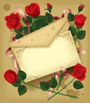 빨간 장미와 빈티지 편지입니다. 발렌타인 데이 카드.