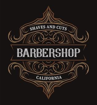 Старинные надписи для парикмахерской на темном фоне. все товары в отдельных группах