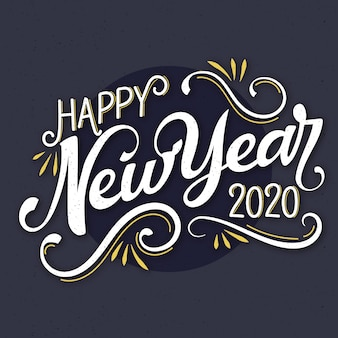 Vintage lettering happy new year 2020 backrgound