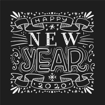 Vintage lettering happy new year 2020