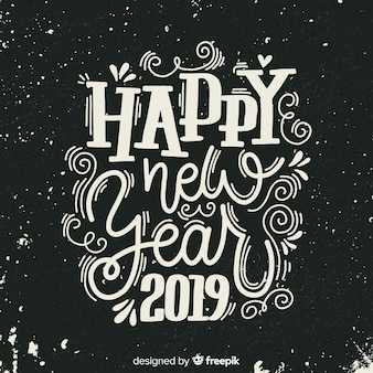 Vintage lettering new year 2019