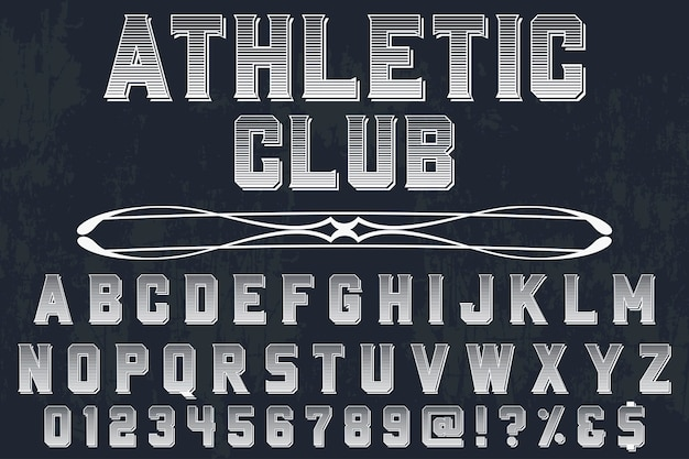 Vintage lettering set with word  athletic club
