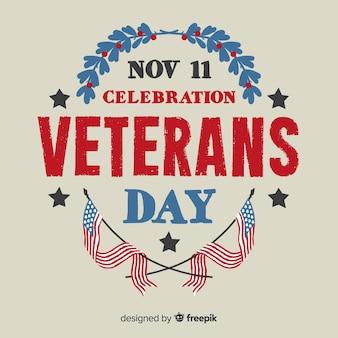 Vintage lettering veterans day background