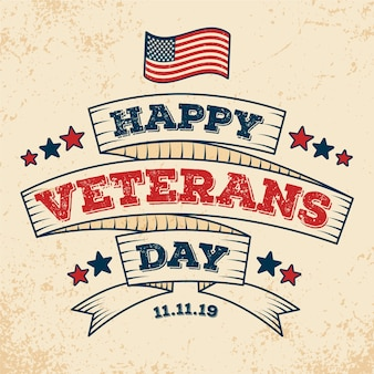Vintage lettering veterans day background