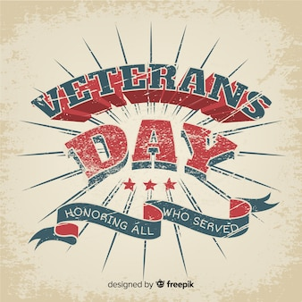 Vintage lettering veterans day and ribbon
