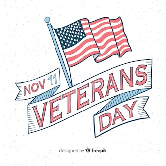 Vintage lettering for veterans day with flag