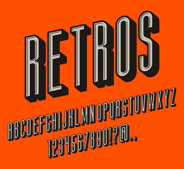 Старинные буквы, набор ретро алфавитных символов. сгущенные объемные буквы, объемные символы с тенью. ретро цвета. легко использовать