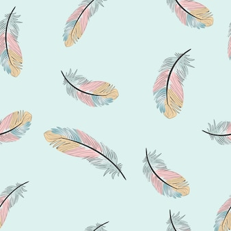 Vintage light blue and pink feather seamless pattern