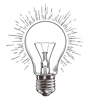 Vintage light bulb in engraving style