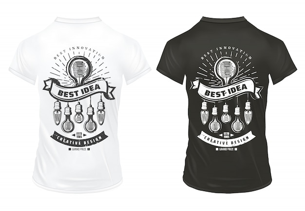 Vintage light bulbs prints template with energy efficient lightbulbs of different shapes on shirts isolated
