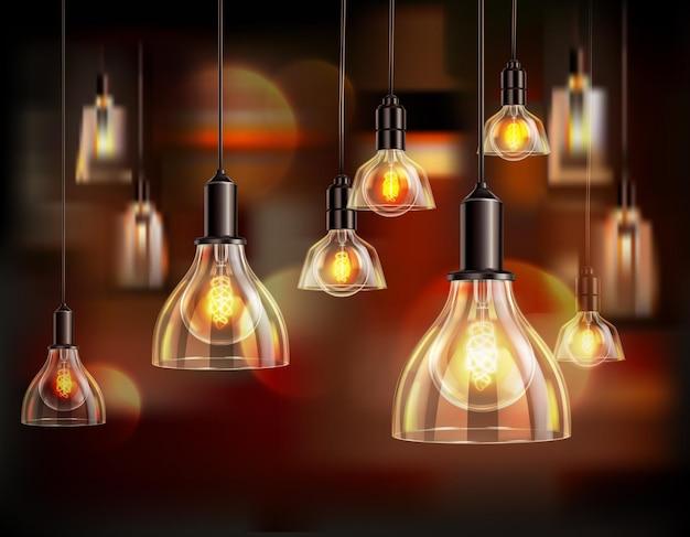 ヴィンテージ電球のリアルな構図とグローブシェードのイラストとぶら下がっているランプがたくさん
