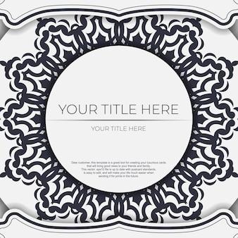 추상 장식으로 빈티지 라이트 컬러 엽서 준비입니다. 만다라 패턴이 있는 디자인 인쇄용 초대 카드 템플릿입니다.