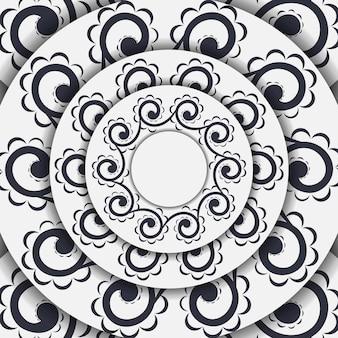 추상적인 패턴으로 빈티지 라이트 컬러 엽서 템플릿입니다. 벡터 만다라 장식으로 인쇄 가능한 초대장 디자인입니다.