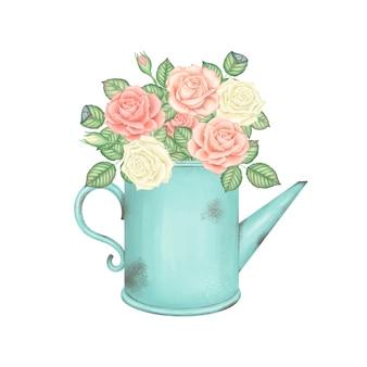 분홍색과 흰색 장미 꽃다발과 빈티지 밝은 녹색 물을 수