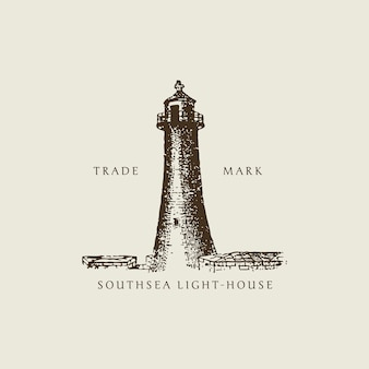 Vintage light house illustration