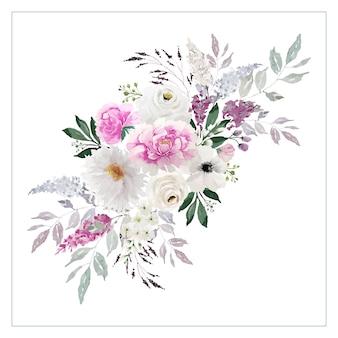 Винтажный букет светло-розовых и белых цветов с зелеными листьями