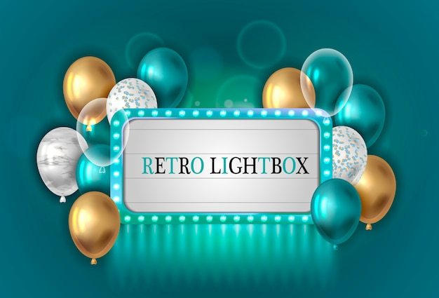 Vintage lightbox with balloons.