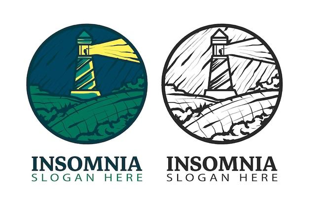 Винтажный маяк логотип в круге символ изолировал векторную иллюстрацию, подходит для компаний и продуктов, показывающих антиквариат, старое впечатление, ориентир