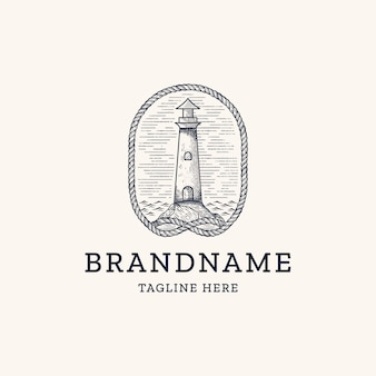 Vintage lighthouse with rope engraving logo