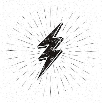 Vintage lightning symbol with sunburst in grunge background