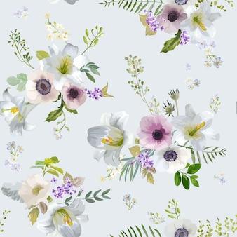 Винтажные лилии и цветы анемона фон