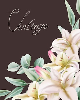 Vintage lily flowers with green leaves composition. place for text