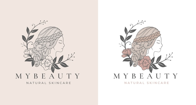 Vintage line art eclipse floral women logo design