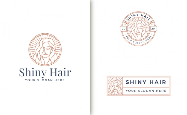 Vintage line art woman logo design
