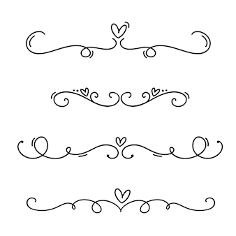 Vintage line elegant valentine dividers and separators, swirls and corners decorative ornaments.