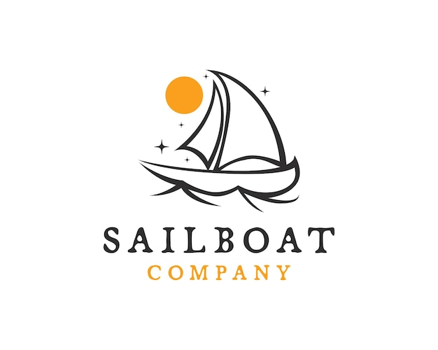 Vintage line speed boat with waves,the yacht or sailing logo design