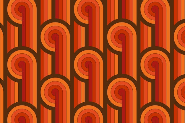 Vintage lines of geometric groovy seamless pattern