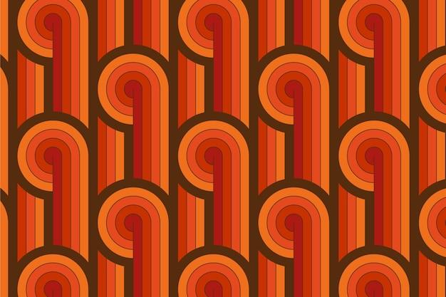 幾何学的なグルーヴィーなシームレスパターンのヴィンテージライン