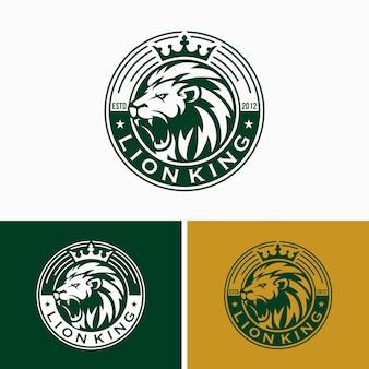 Vintage lion logo design template